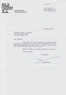 GUY HAMILTON - TYPED LETTER SIGNED 08/25/1976