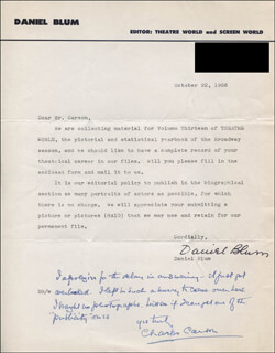 DANIEL BLUM - TYPED LETTER SIGNED 10/22/1956 CO-SIGNED BY: CHARLES CARSON