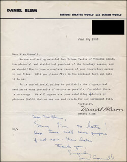 DANIEL BLUM - TYPED LETTER SIGNED 06/20/1956 CO-SIGNED BY: JANE CONNELL
