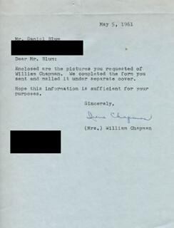 IRENE CHAPMAN - TYPED LETTER SIGNED 05/05/1961