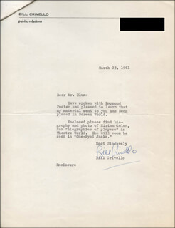 BILL CRIVELLO - TYPED LETTER SIGNED 03/23/1961