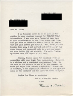 THOMAS A. CARLIN - TYPED LETTER SIGNED 05/13/1956