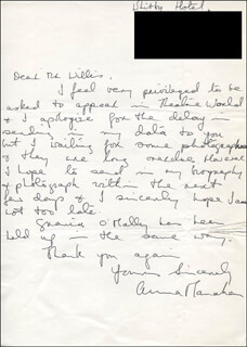 ANNA MANAHAN - AUTOGRAPH LETTER SIGNED 06/09/1968