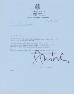 ANDRE DETOTH - TYPED LETTER SIGNED 07/16/1973