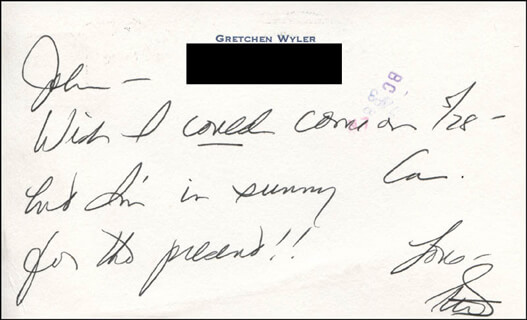 GRETCHEN WYLER - AUTOGRAPH NOTE SIGNED CIRCA 1981