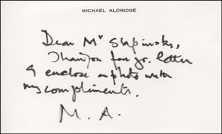 Autographs: MICHAEL ALDRIDGE - AUTOGRAPH NOTE SIGNED