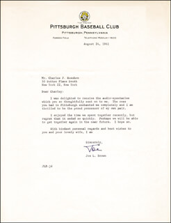 JOE L. BROWN - TYPED LETTER SIGNED 08/24/1961