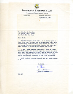 JOE L. BROWN - TYPED LETTER SIGNED 09/03/1964