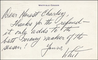 WHITFIELD CONNOR - AUTOGRAPH NOTE SIGNED CIRCA 1973