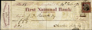 Autographs: CHARLES SUMNER - CHECK SIGNED 02/26/1873