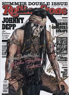 THE LONE RANGER MOVIE CAST - MAGAZINE SIGNED CO-SIGNED BY: JOHNNY DEPP, HELENA BONHAM CARTER, ARMIE HAMMER, RUTH WILSON, BARRY PEPPER, TOM WILKINSON, WILLIAM FICHTNER, JAMES BADGE DALE, JAMES FRAIN, GORE VERBINSKI, JERRY BRUCKHEIMER
