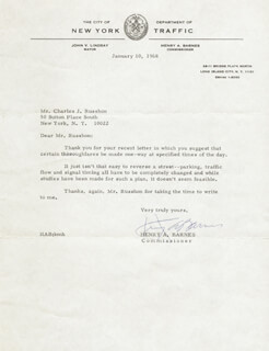 HENRY A. BARNES - TYPED LETTER SIGNED 01/10/1968