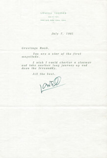 LOWELL THOMAS - TYPED LETTER SIGNED 07/07/1981