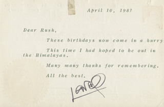 LOWELL THOMAS - TYPED LETTER SIGNED 04/10/1981