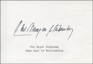 Autographs: CARL DUKE OF WURTTEMBERG (GERMANY) - SIGNATURE(S)