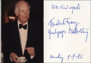 Autographs: FREIDRICH FRANZ DUKE OF MECKLENBURG-SCHWERIN (GERMANY) - AUTOGRAPH SENTIMENT SIGNED 09/09/1986
