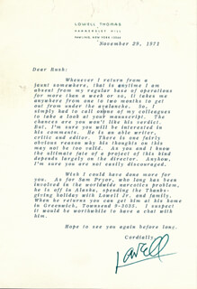 LOWELL THOMAS - TYPED LETTER SIGNED 11/29/1971