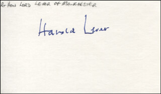 HAROLD LORD LEVER OF MANCHESTER LEVER - AUTOGRAPH