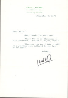 LOWELL THOMAS - TYPED LETTER SIGNED 12/06/1976