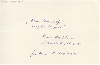 KARL KROLOW - INSCRIBED AUTOGRAPH QUOTATION SIGNED CIRCA 11/14/1