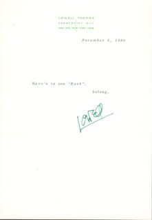 LOWELL THOMAS - TYPED NOTE SIGNED 11/06/1980