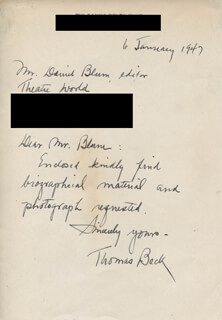 THOMAS BECK - AUTOGRAPH LETTER SIGNED 01/06/1947