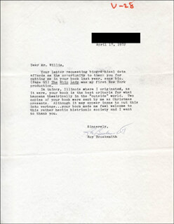 ROY BROCKSMITH - TYPED LETTER SIGNED 04/18/1972