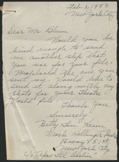 BETTY LOU KEIM - AUTOGRAPH LETTER SIGNED 02/03/1950