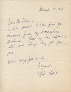RUTH KOBART - AUTOGRAPH LETTER SIGNED 12/23/1965
