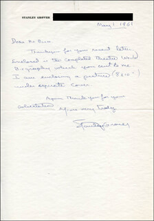 STANLEY GROVER - AUTOGRAPH LETTER SIGNED 05/01/1961