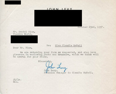 JOHN LEVY - TYPED LETTER SIGNED 10/23/1957