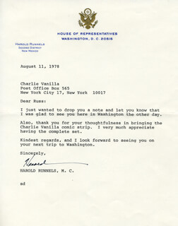 HAROLD RUNNELS - TYPED LETTER SIGNED 08/11/1978