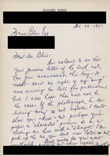 DANIEL REED - AUTOGRAPH LETTER SIGNED 11/26/1951