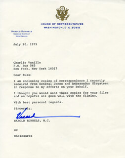 HAROLD RUNNELS - TYPED LETTER SIGNED 07/10/1979