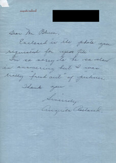 AUGUSTA ROELAND - AUTOGRAPH LETTER SIGNED