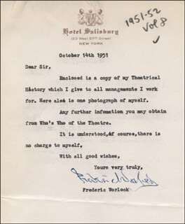 FREDERIC WORLOCK - TYPED LETTER SIGNED 10/14/1951