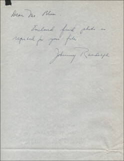 JOHN RANDOLPH - AUTOGRAPH NOTE SIGNED