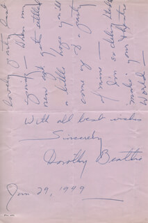 DOROTHY BEATTIE - AUTOGRAPH LETTER SIGNED 01/29/1949