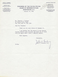 MAYOR JOHN V. LINDSAY - TYPED LETTER SIGNED 01/16/1964
