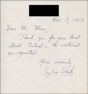 SYLVIA SHORT - AUTOGRAPH NOTE SIGNED 11/03/1954