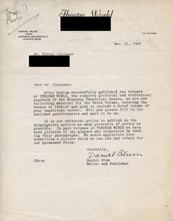 DANIEL BLUM - TYPED LETTER SIGNED 12/31/1946