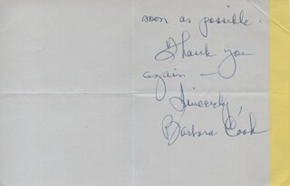 BARBARA COOK - AUTOGRAPH LETTER SIGNED