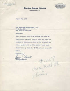 BARRY GOLDWATER - TYPED LETTER SIGNED 08/26/1957
