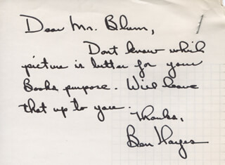 BEN HAYES - AUTOGRAPH LETTER SIGNED