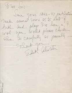 Autographs: EDITH ATWATER - AUTOGRAPH LETTER SIGNED