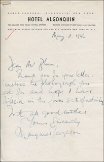 MARGARET LEIGHTON - AUTOGRAPH LETTER SIGNED 05/19/1946