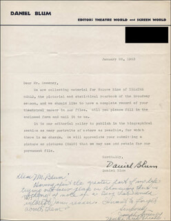 JOSEPH SWEENEY - TYPED LETTER SIGNED 01/28/1953 CO-SIGNED BY: DANIEL BLUM