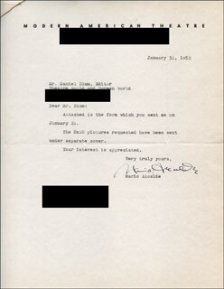 MARIO ALCALDE - TYPED LETTER SIGNED 01/31/1953