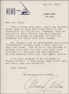 ALNEY ALBA - TYPED LETTER SIGNED 05/20/1953