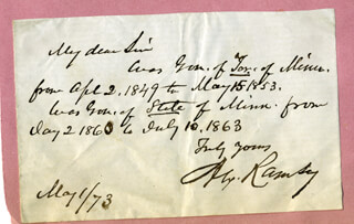 Autographs: ALEXANDER RAMSEY - AUTOGRAPH NOTE SIGNED 05/01/1873